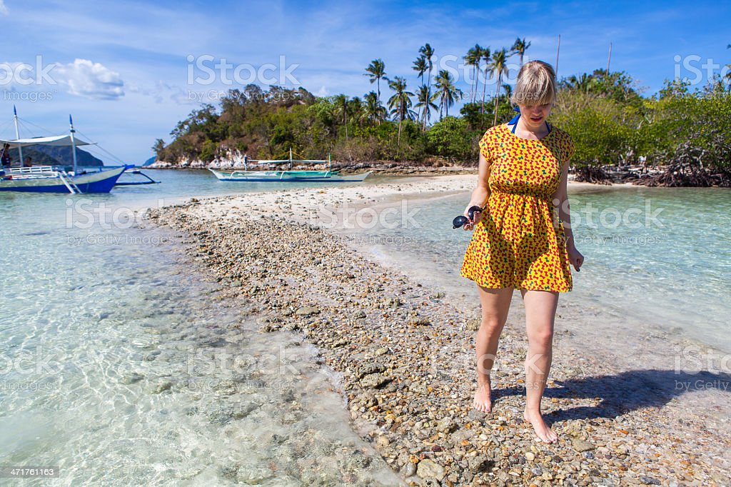 Woman on a perfect beach royalty-free stock photo