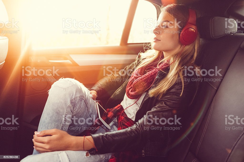 Woman on a road trip stock photo