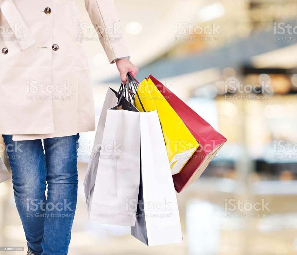 woman on a shopping spree stock photo