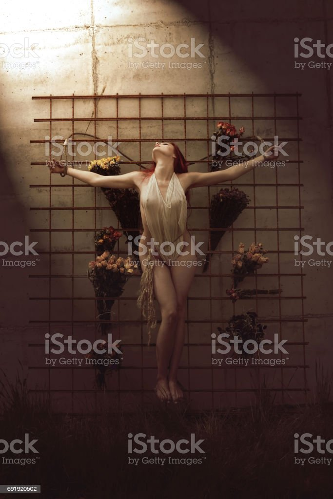 Woman On A Wall stock photo