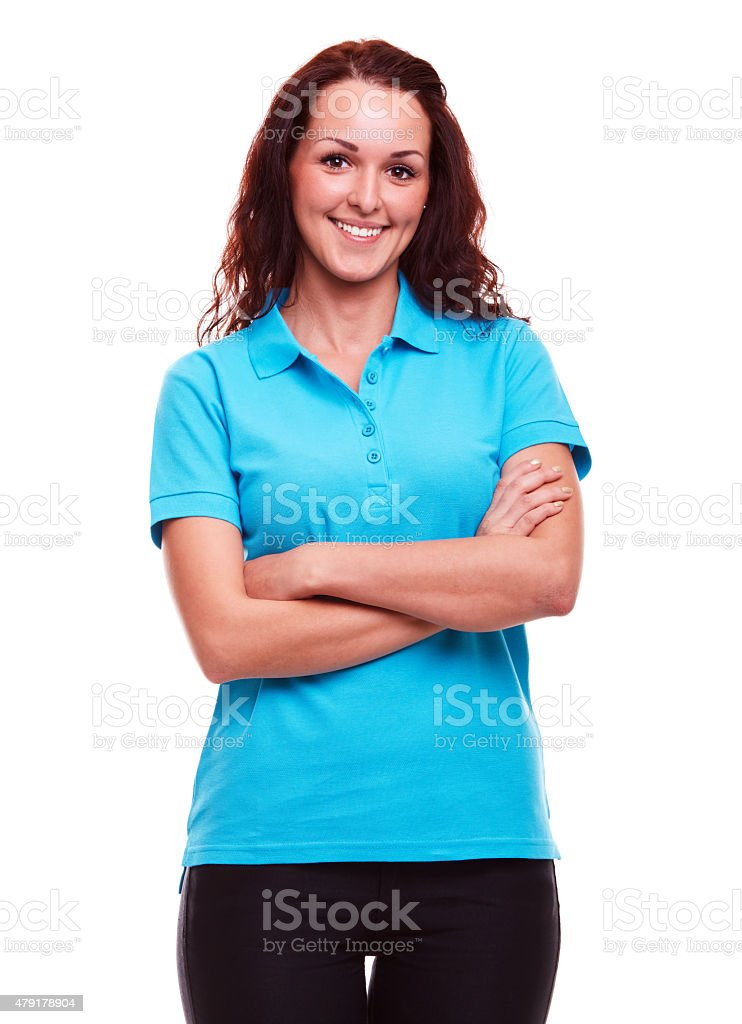 Woman on a white background stock photo