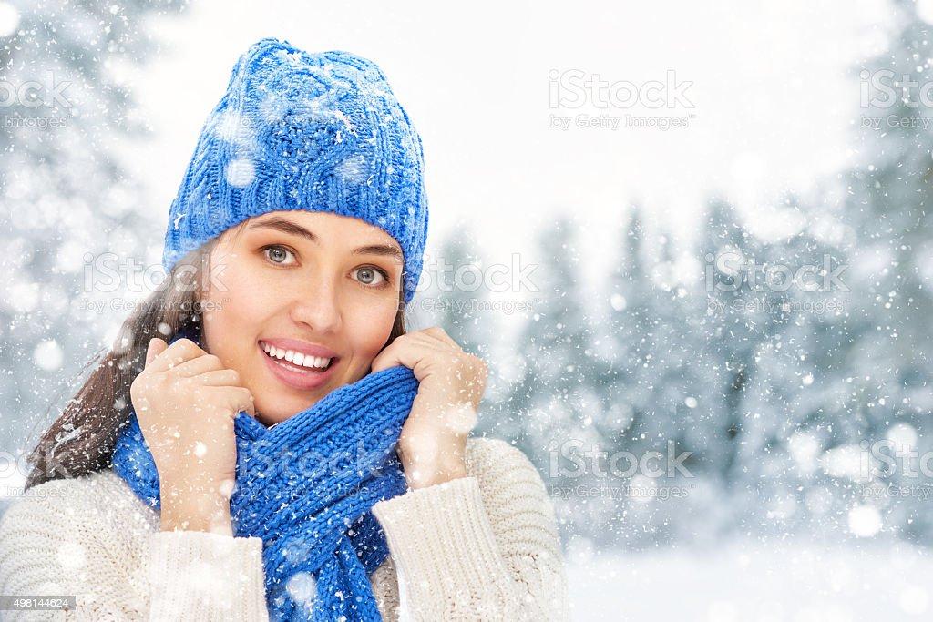 woman on a winter walk stock photo
