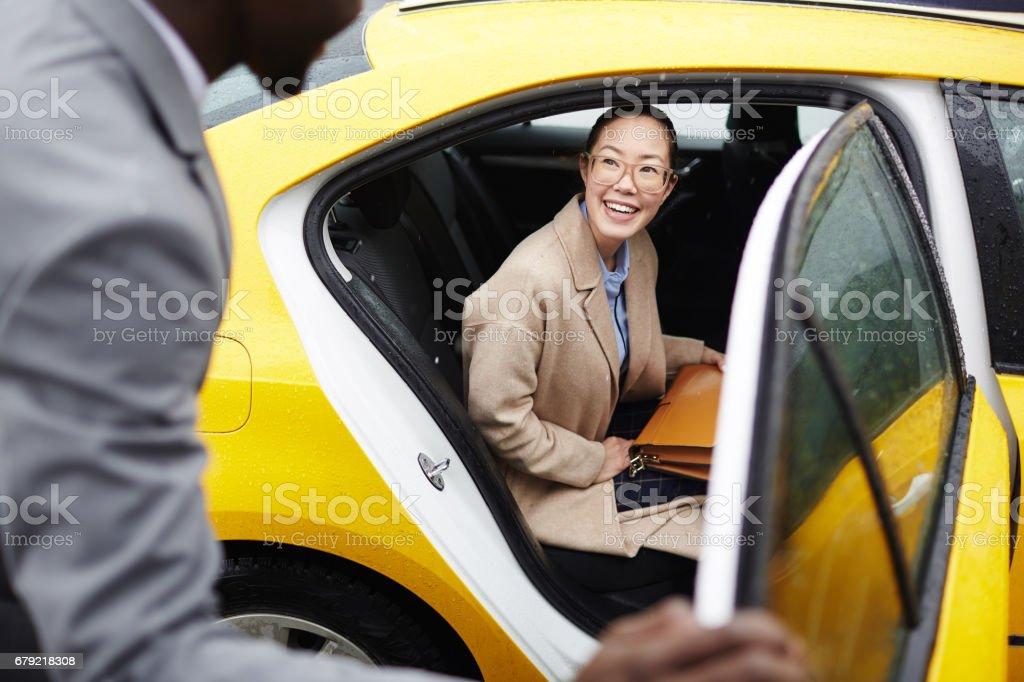 Woman on backseat stock photo