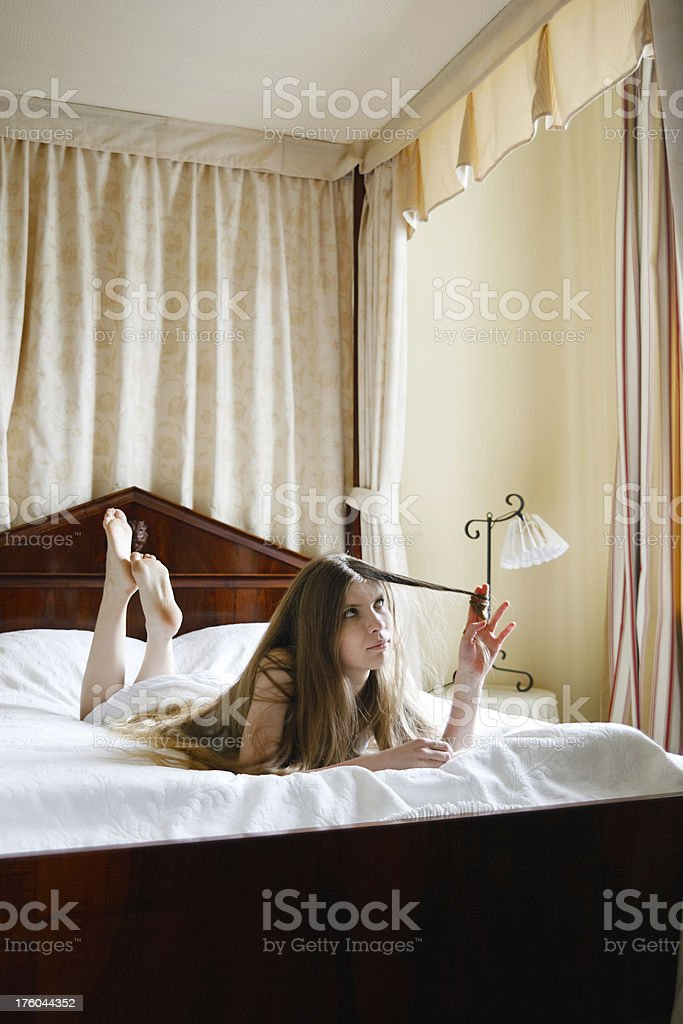 Woman On Bed stock photo