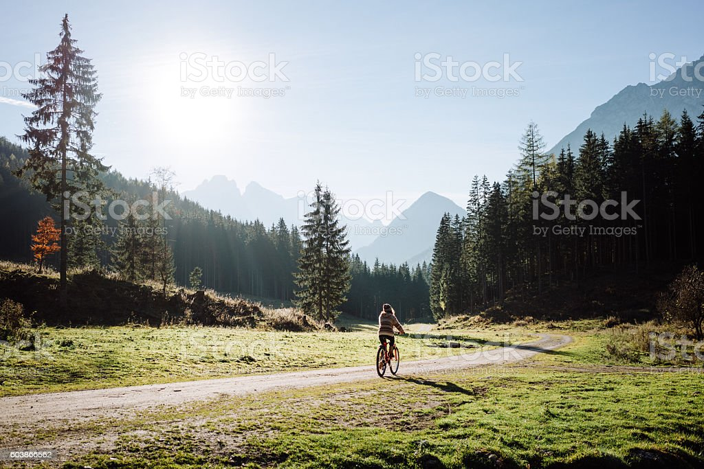 Woman on bicycle in forest stock photo