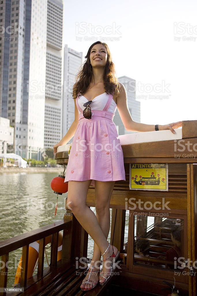Woman on boat royalty-free stock photo