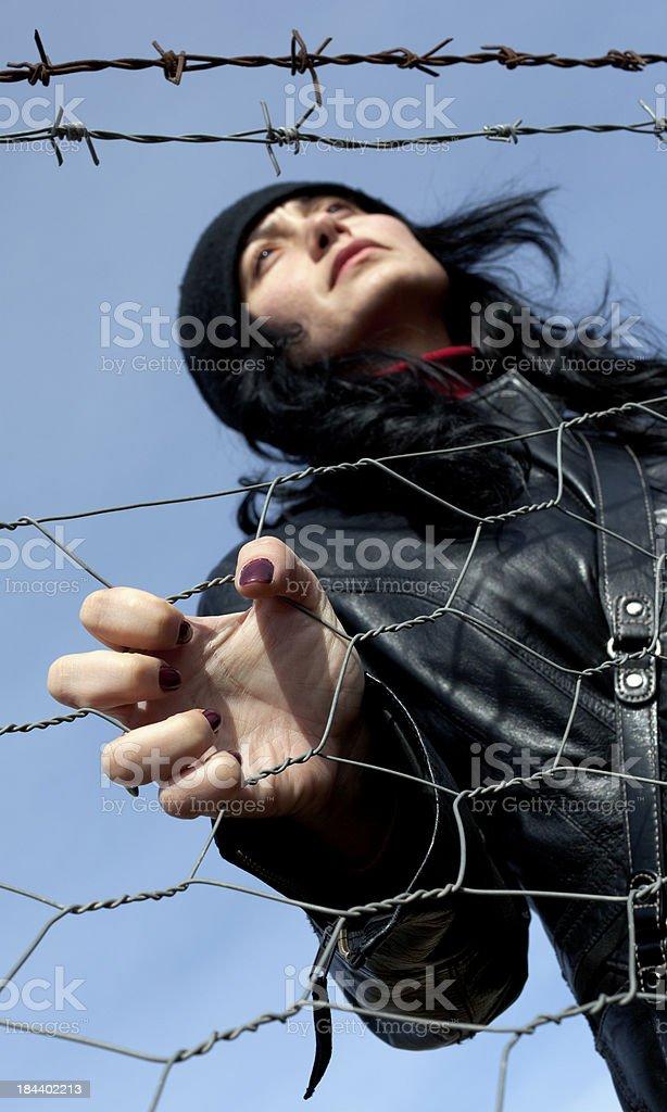 Woman on Border royalty-free stock photo