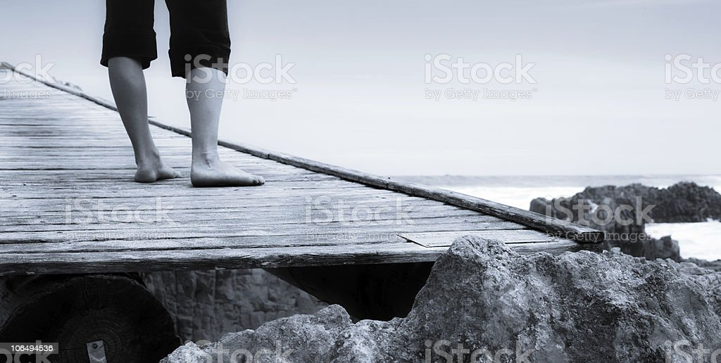 woman on bridge royalty-free stock photo