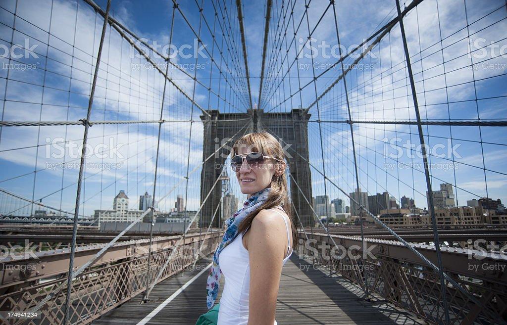 Woman on Brooklyn Bridge royalty-free stock photo