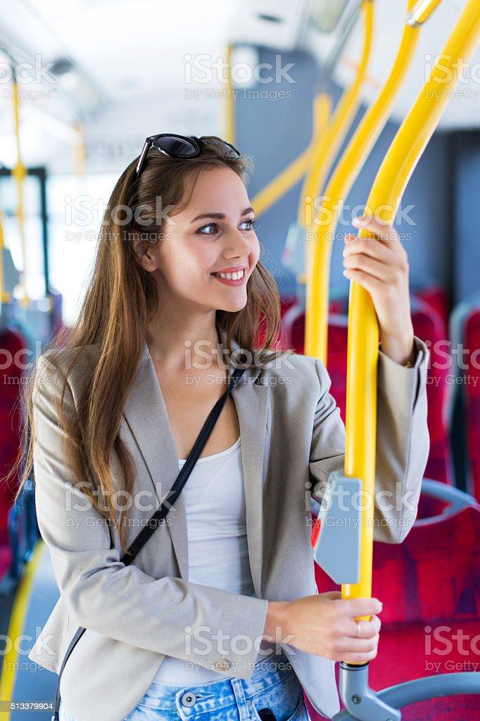 Woman on bus stock photo