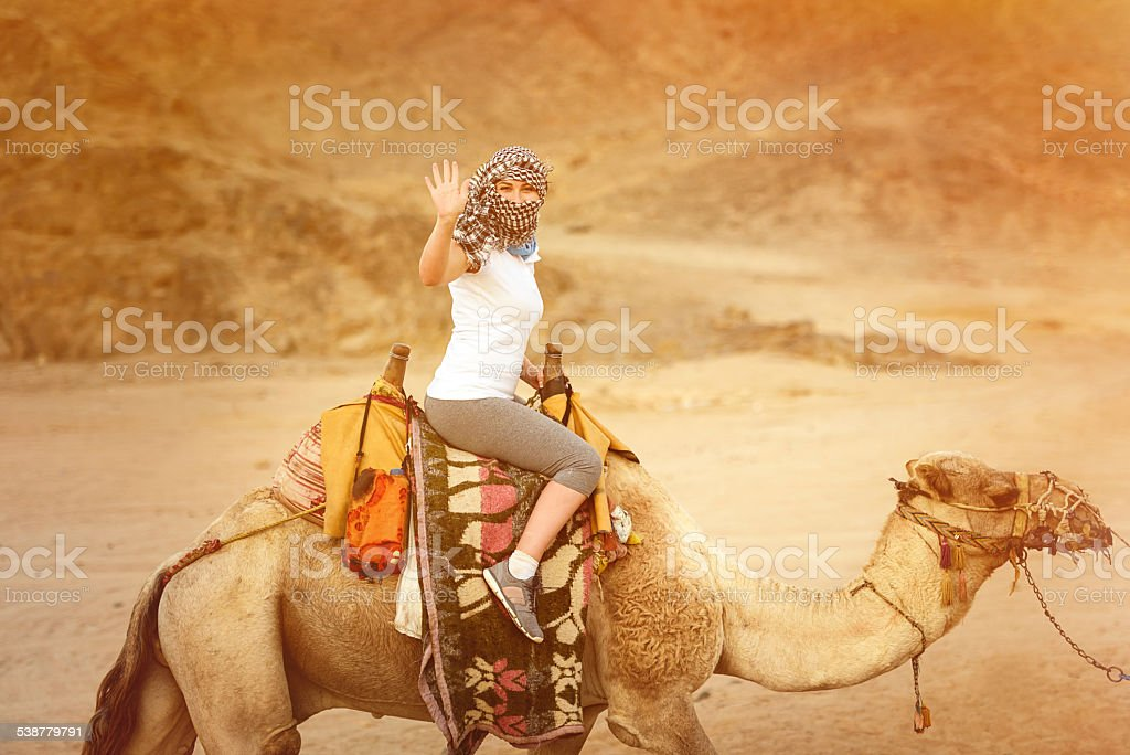 woman on camel stock photo