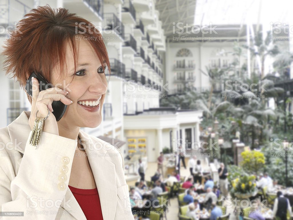 Woman on Cellphone at Opryland Hotel royalty-free stock photo