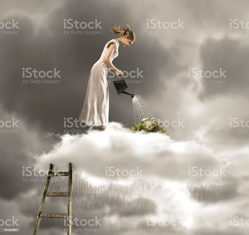 Woman on cloud watering plants with rain falling from cloud royalty-free stock photo
