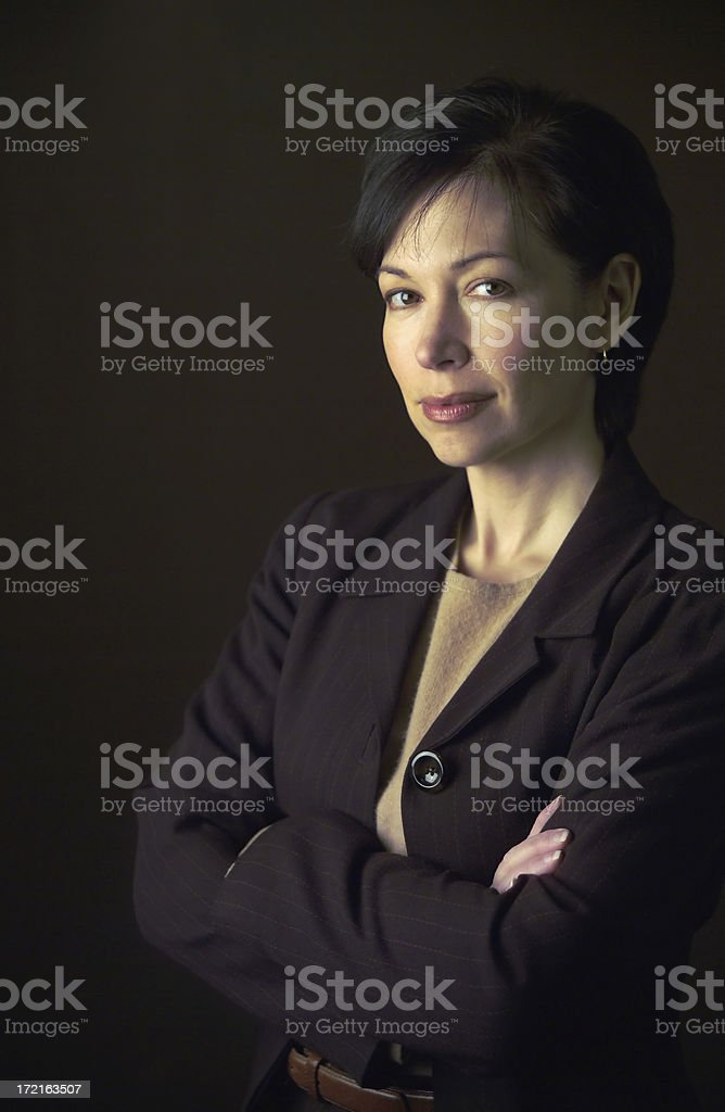 woman on dark background stock photo