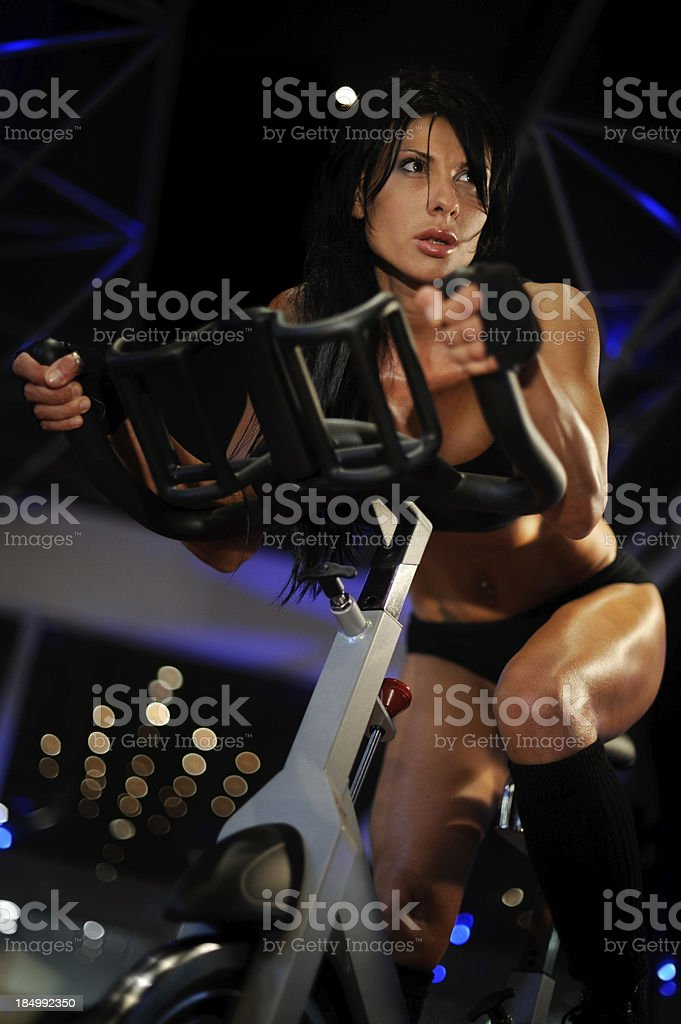 Woman On Spinning Class royalty-free stock photo