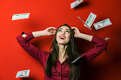 Woman on Falling Banknotes Background