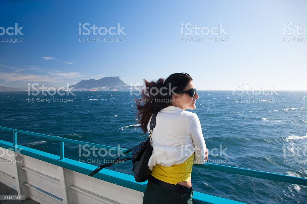 woman on ferryboat from Gibraltar stock photo