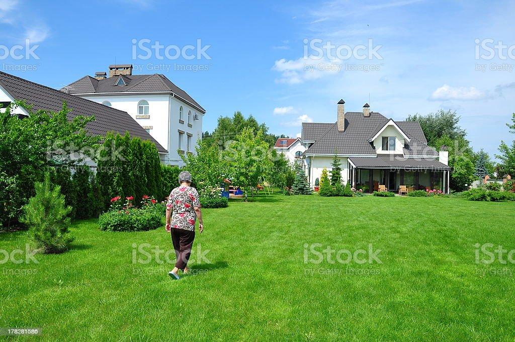 woman on garden stock photo