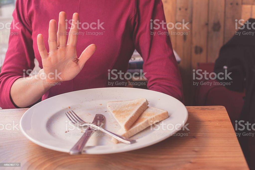 Woman on gluten free diet stock photo