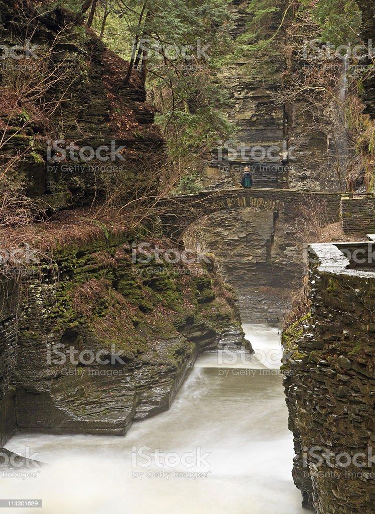 Woman on Gorge Bridge stock photo