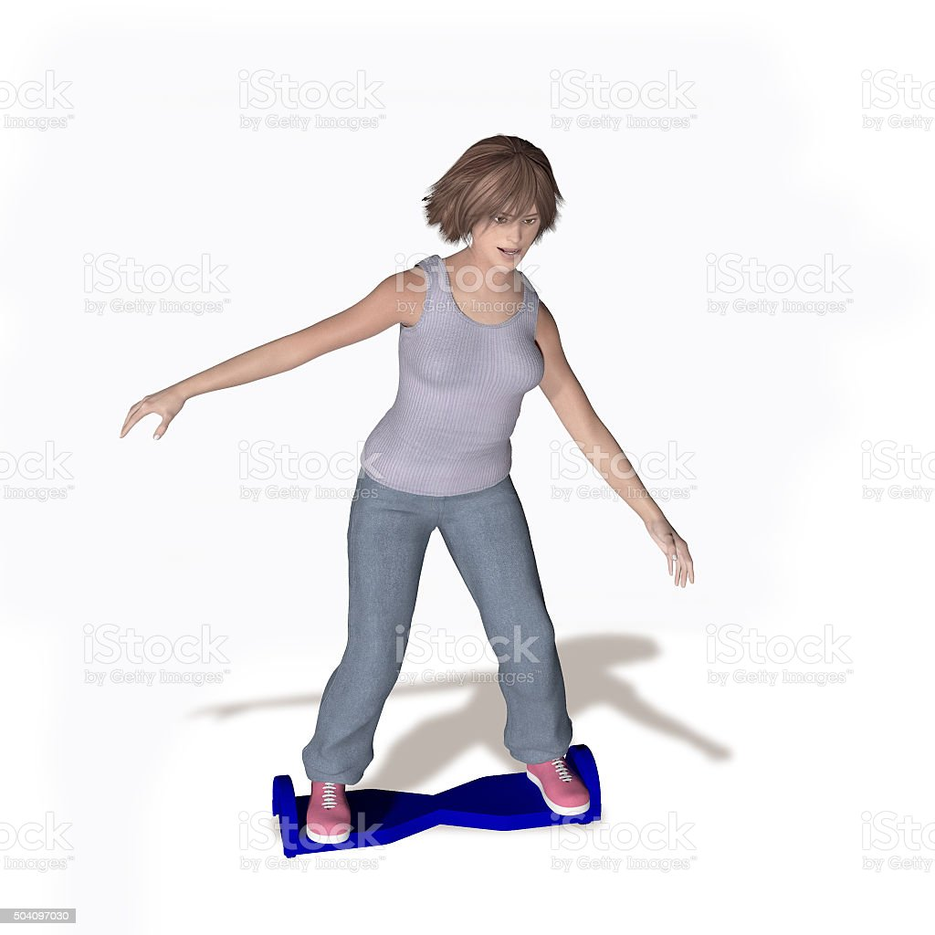 woman on hoverboard stock photo