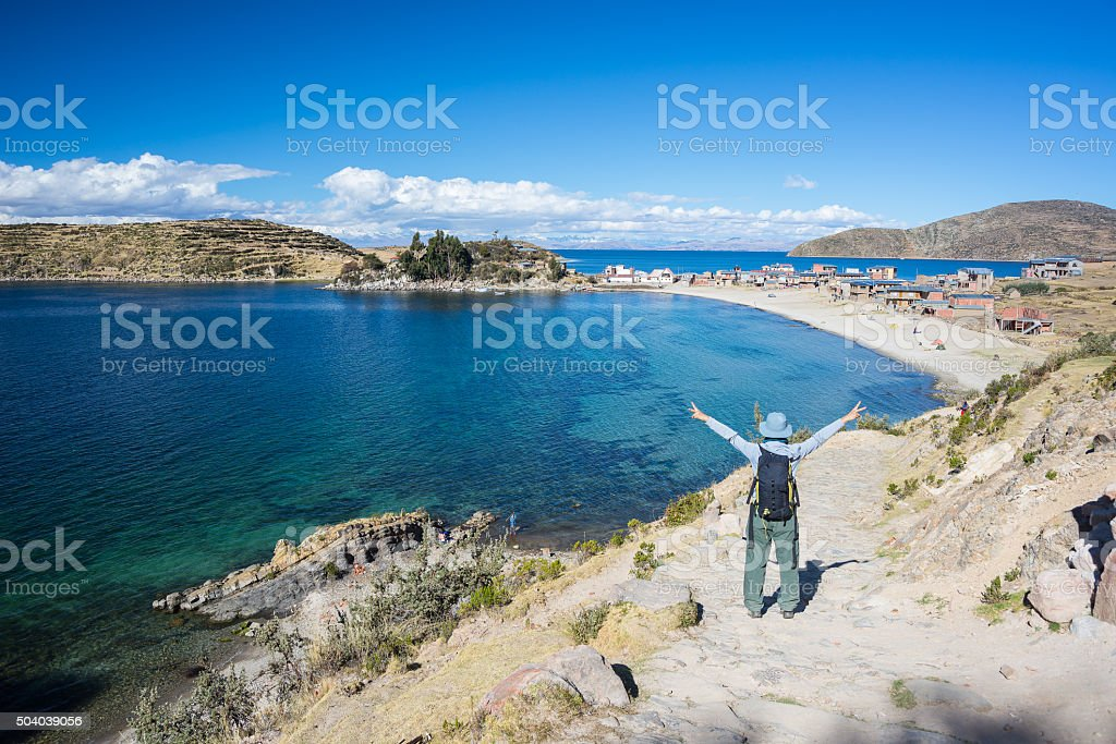 Woman on Island of the Sun, Titicaca Lake, Bolivia stock photo
