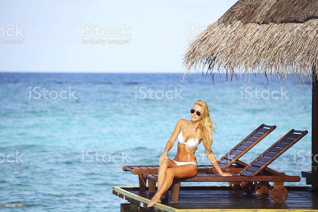 woman on lounge royalty-free stock photo