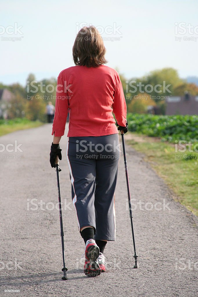 woman on nordic walking royalty-free stock photo