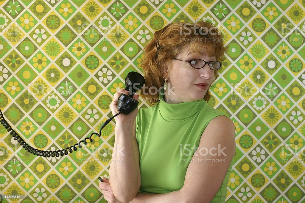woman on phone with retro royalty-free stock photo