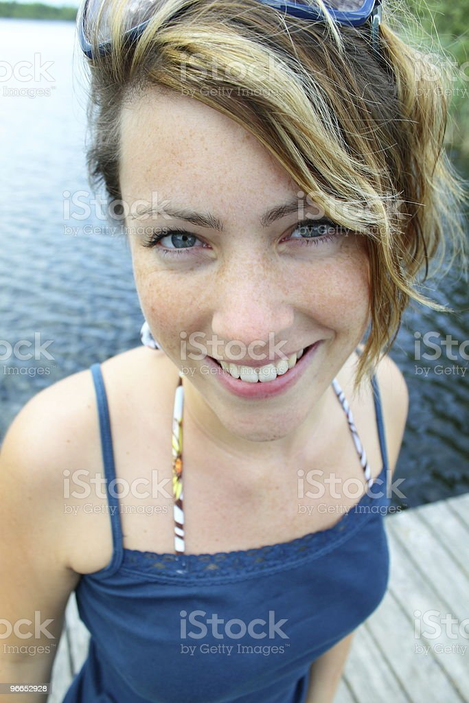 woman on pier royalty-free stock photo