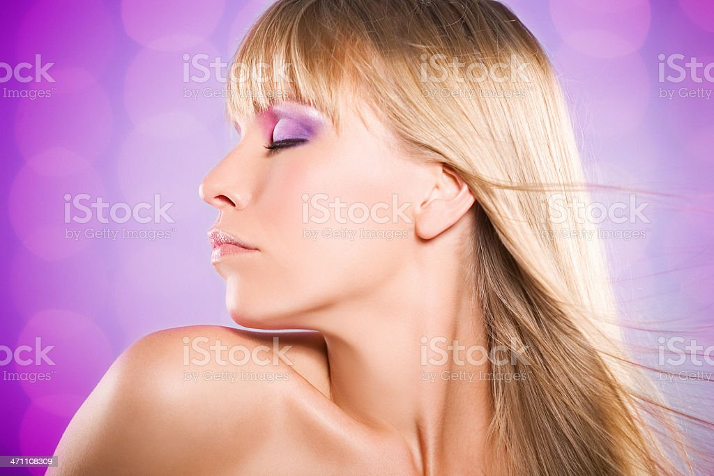 woman on pink background royalty-free stock photo