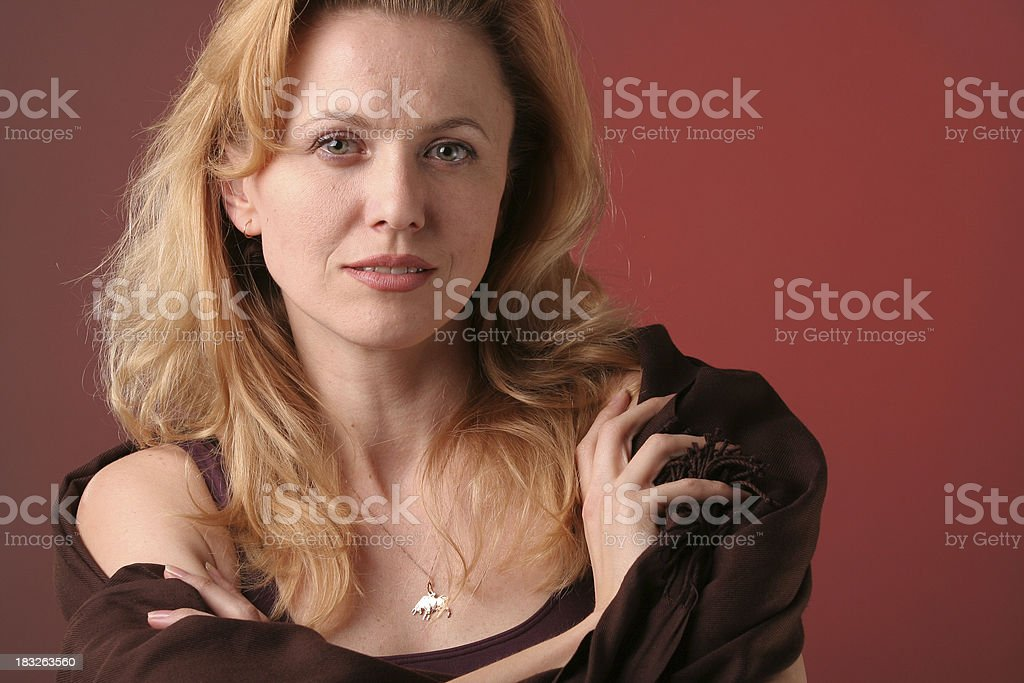 Woman on red background royalty-free stock photo