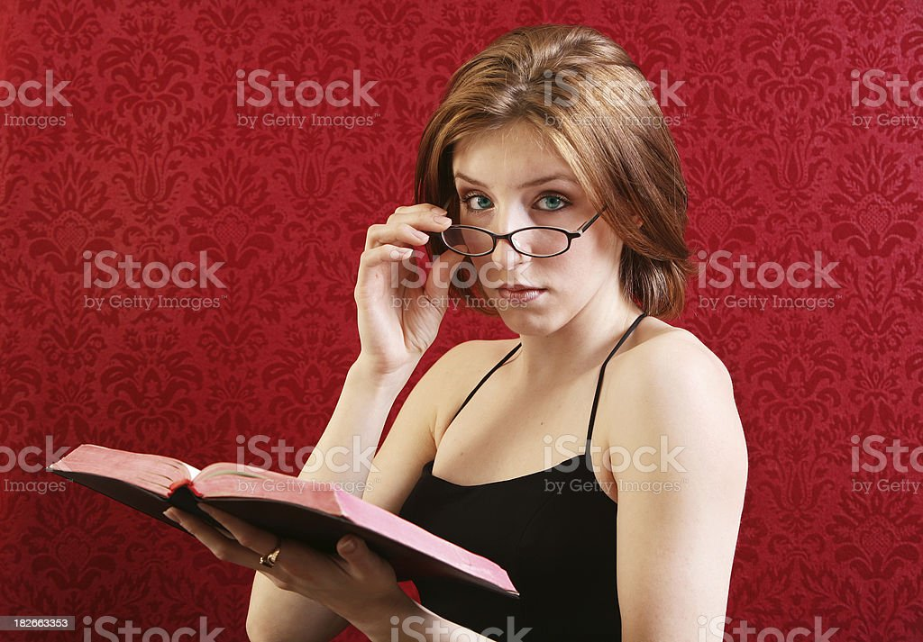 Woman on red royalty-free stock photo