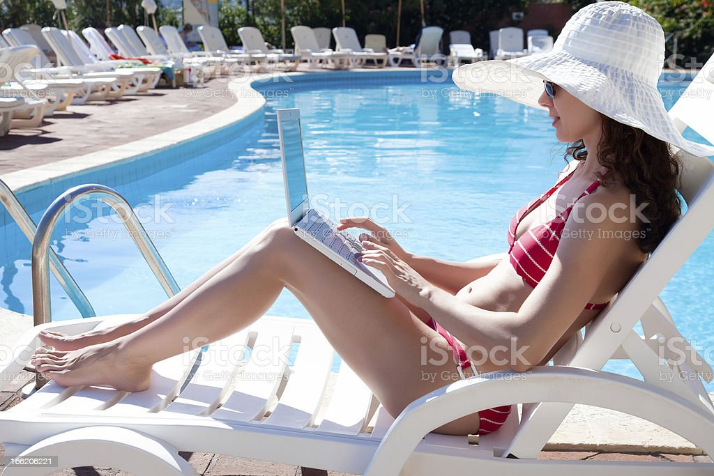 woman on resort royalty-free stock photo