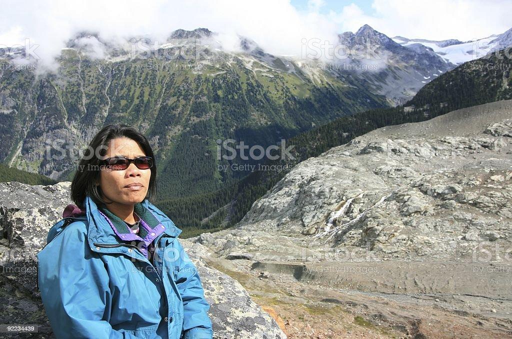 Woman on Ridge of Moraine royalty-free stock photo