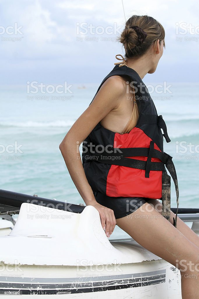 woman on sailboat royalty-free stock photo