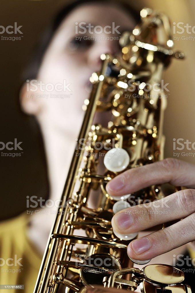 woman on sax stock photo