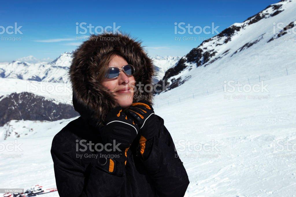woman on ski vacation stock photo
