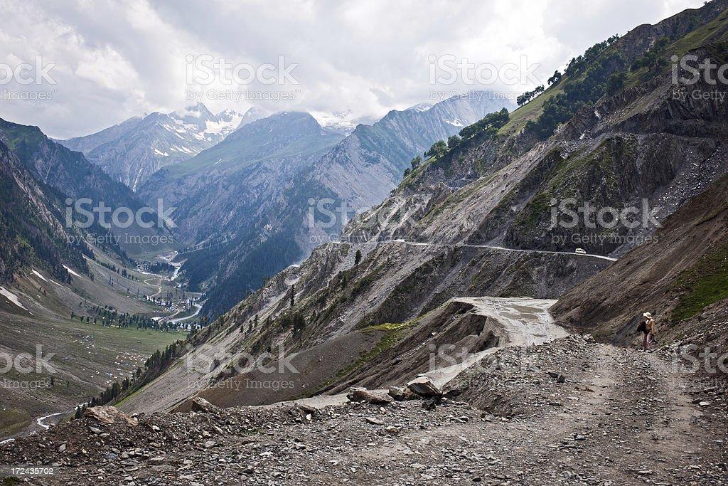 Woman on Srinagar-Kargil-Leh Road North India royalty-free stock photo
