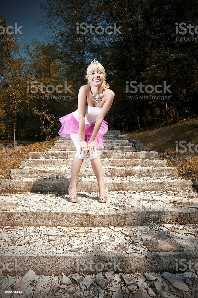 Woman on stairs royalty-free stock photo