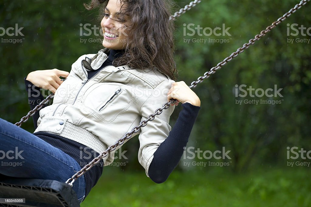 woman on swing royalty-free stock photo