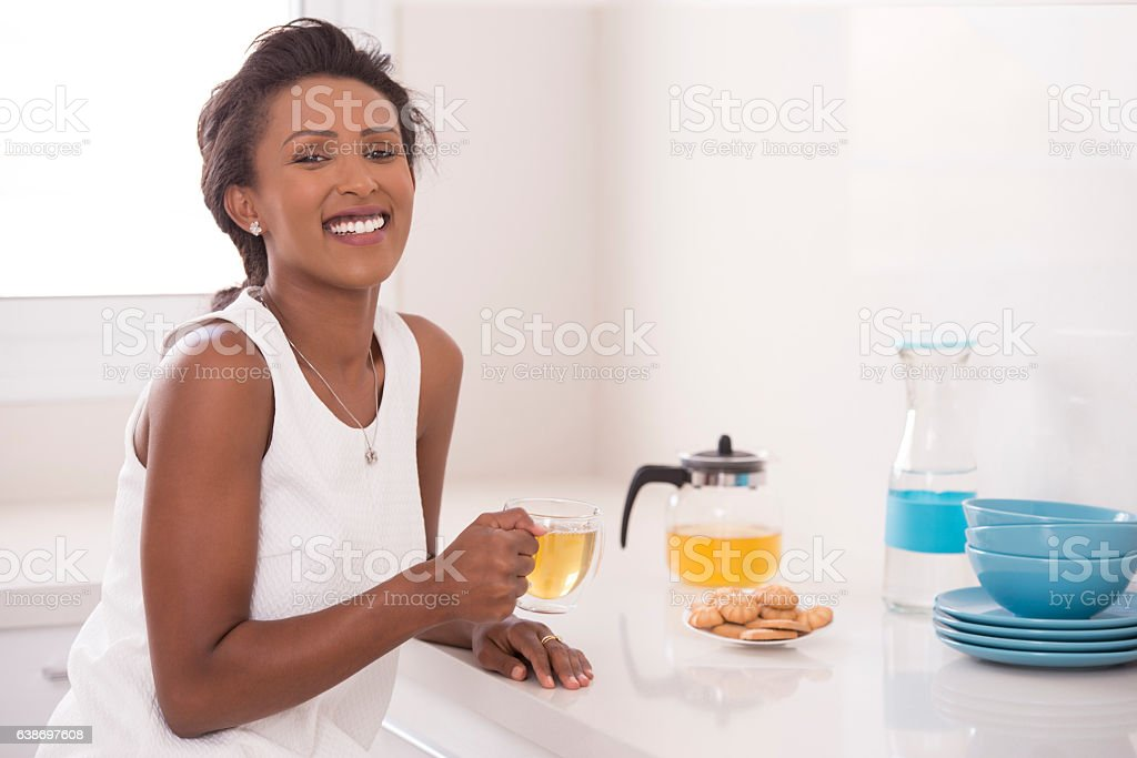 Woman on tea time. stock photo