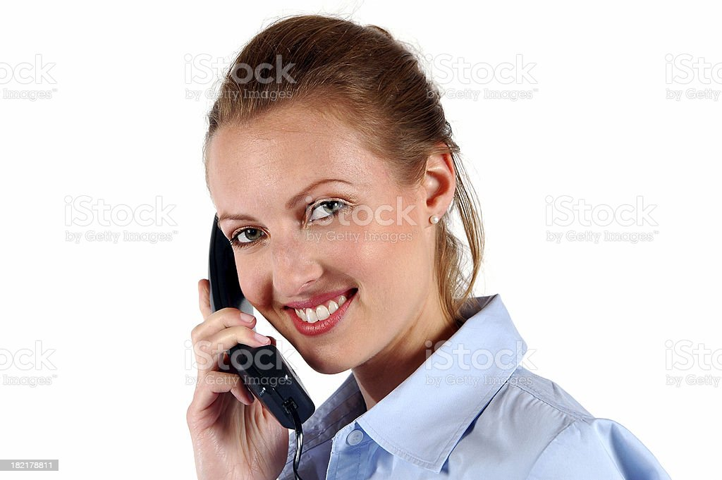Woman on Telephone: Happy to help! stock photo