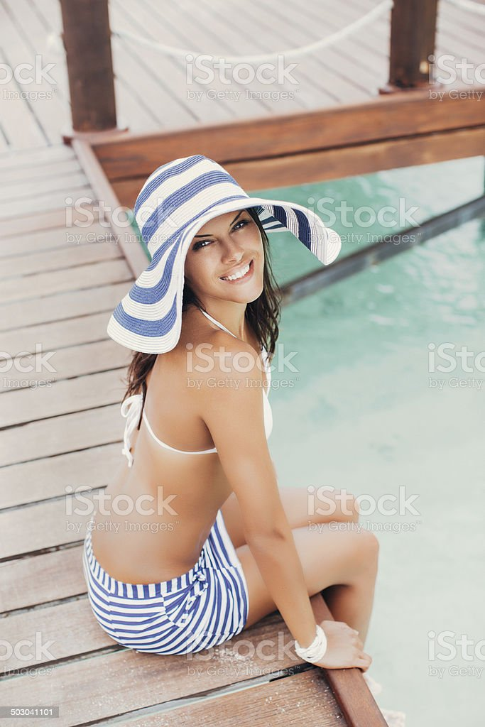 Woman on the background of the bay royalty-free stock photo