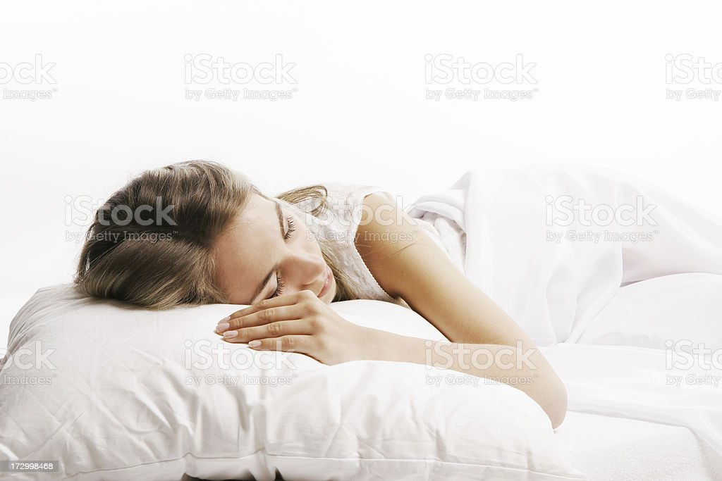 Woman on the bed royalty-free stock photo