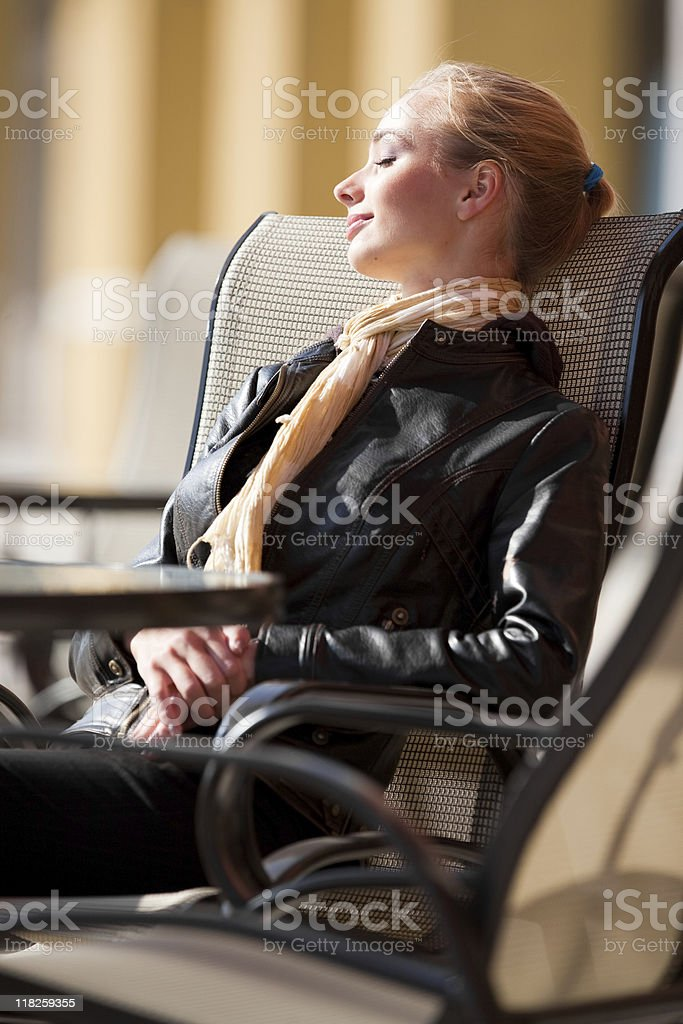 Woman on the bench stock photo