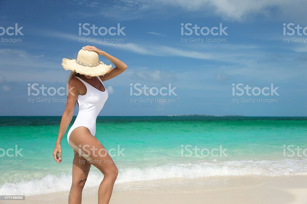 woman on the Caribbean beach royalty-free stock photo