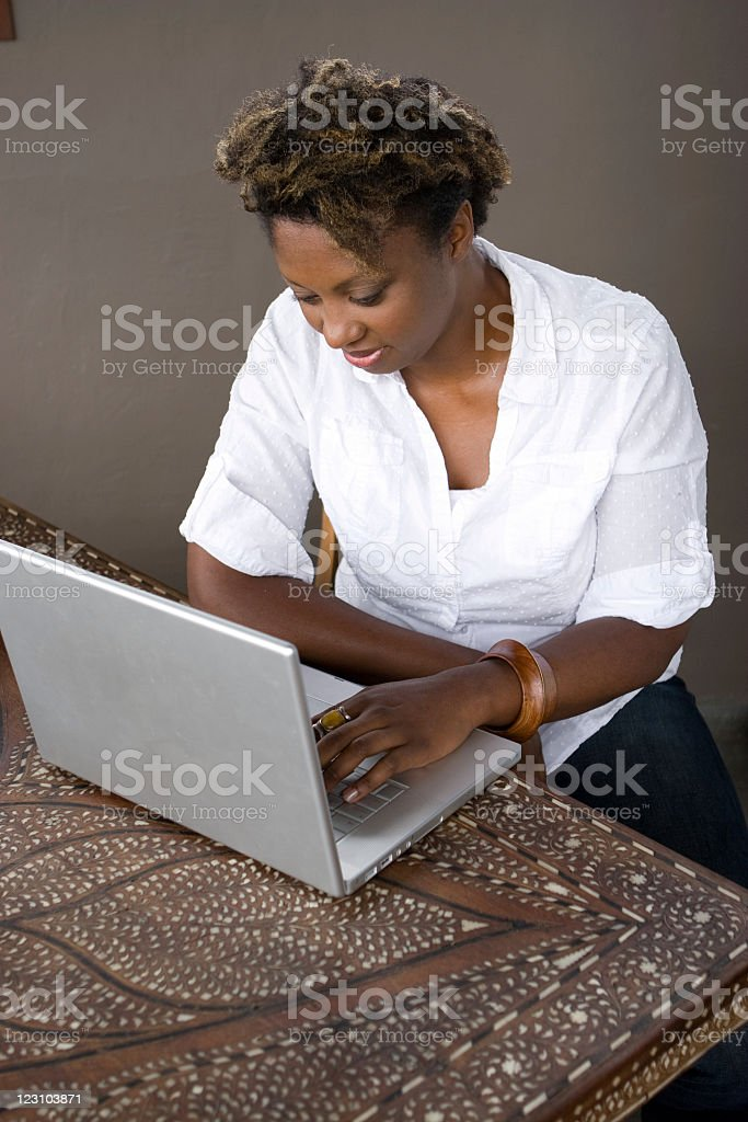 Woman on the internet royalty-free stock photo