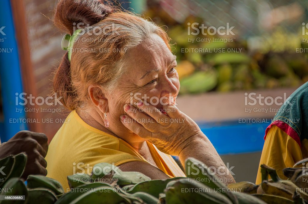 Woman on the market of Camag?ey, Cuba stock photo