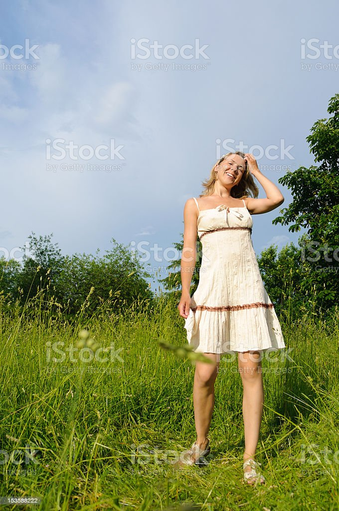 woman on the meadow royalty-free stock photo